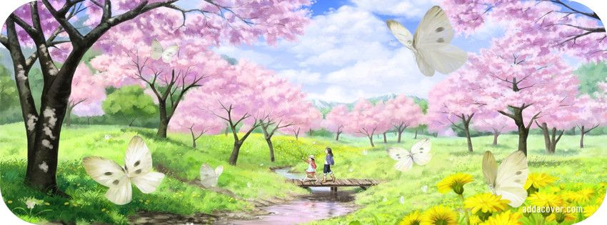 Spring Accommodation Facebook Covers: Pink Blossom Facebook Cover