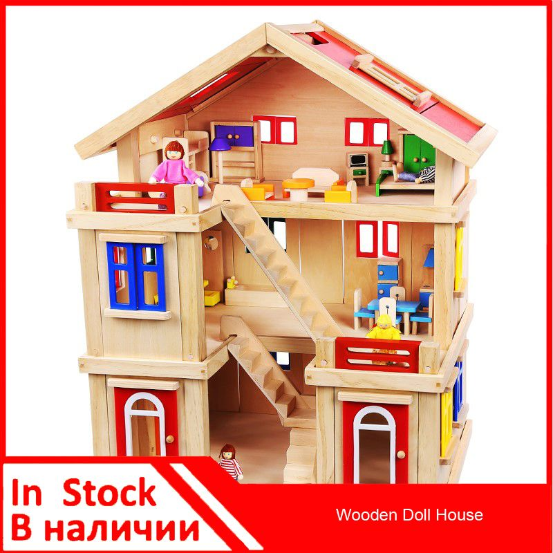 [ 25% Off ] Onshine Wooden Doll House Classic Toy Pretend Play Furniture Toy  Simulation House DIY House Furniture Show Scene Show