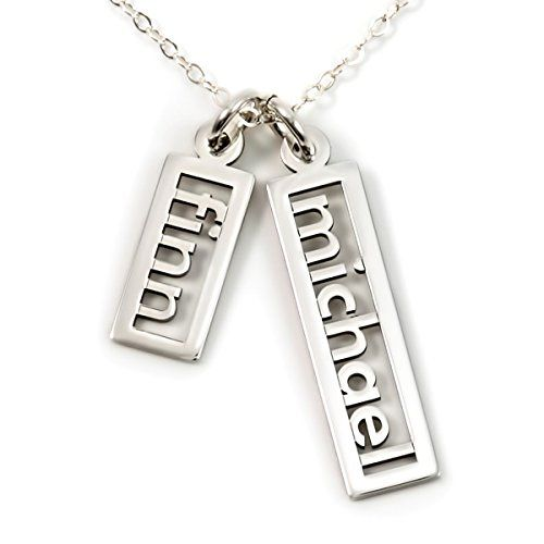 personalized necklace open double sterling silver or 14k gold plate