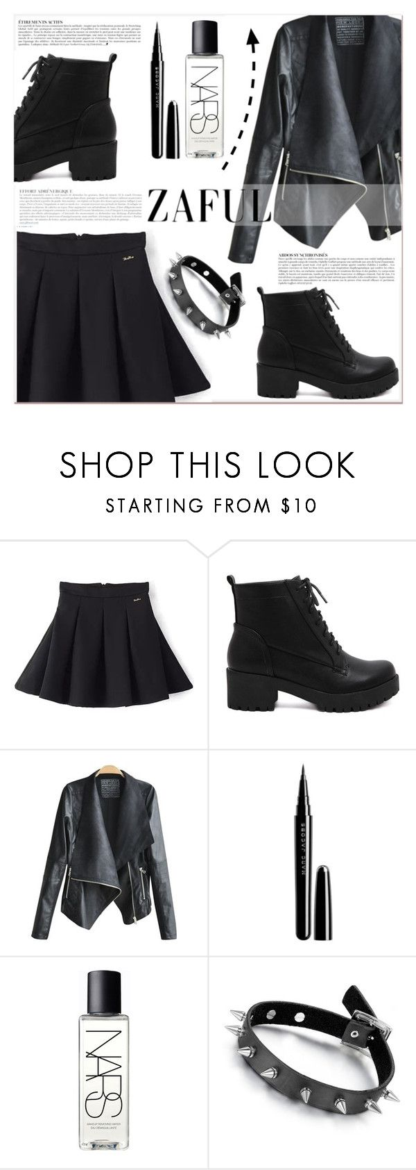 """www.zaful.com/?lkid=7011"" by lucky-1990 ❤ liked on Polyvore featuring Anja, Marc Jacobs, NARS Cosmetics, Black Rivet and zaful"