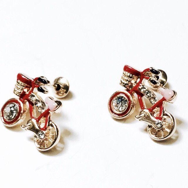 e262fccf3 Screw Back Earrings, Stud Earrings, Brazilian Gold, Kids Jewelry, Bicycle,  Enamel