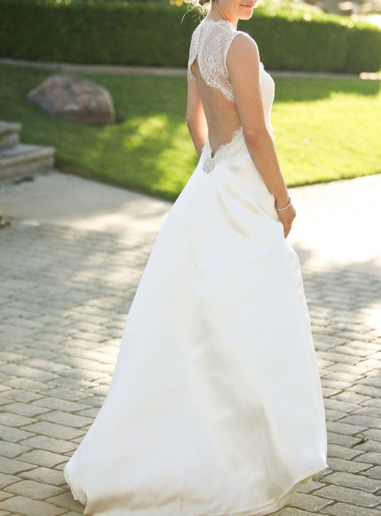 Custom 'Monique Lhuillier Scarlet' Style Open Lace Back ...