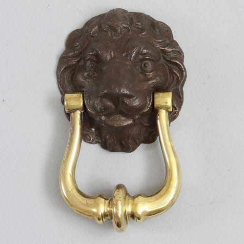 An original georgian antique cast iron and brass lion mask door knocker unusual in that the - Unusual door knocker ...