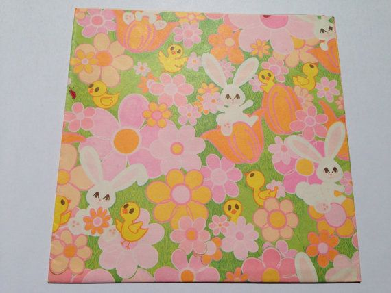 Vintage gift wrapping paper happy easter paper happy easter vintage gift wrapping paper happy easter paper happy easter bunnies and chicks in pink florals 1 unused full sheet easter gift wrap negle Image collections