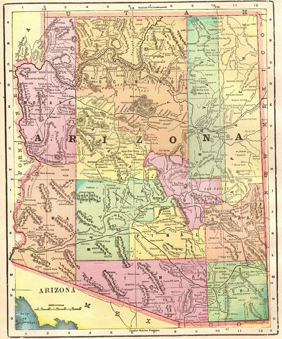 1901 Antique ARIZONA Map Vintage State Map Gallery Wall Art | United ...