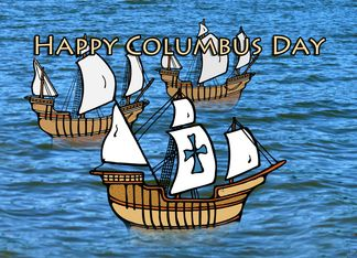 Columbus Day Three Ships Sailing Card Happy Columbus Day Day Columbus Day