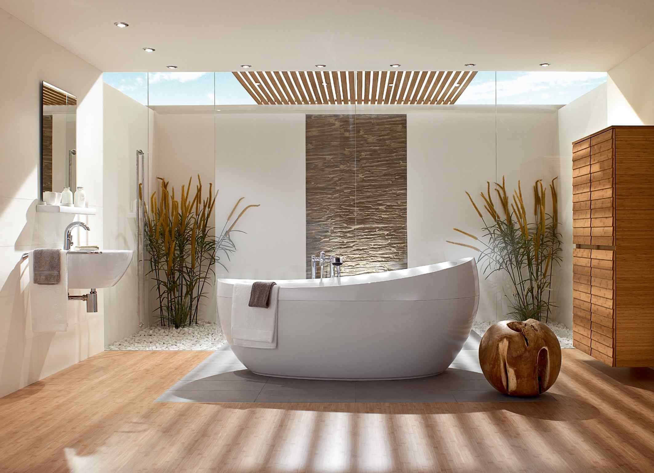 Moderne häuser innen bad  Spend a Quality Time in a Bathroom with Natural Bathroom Design ...