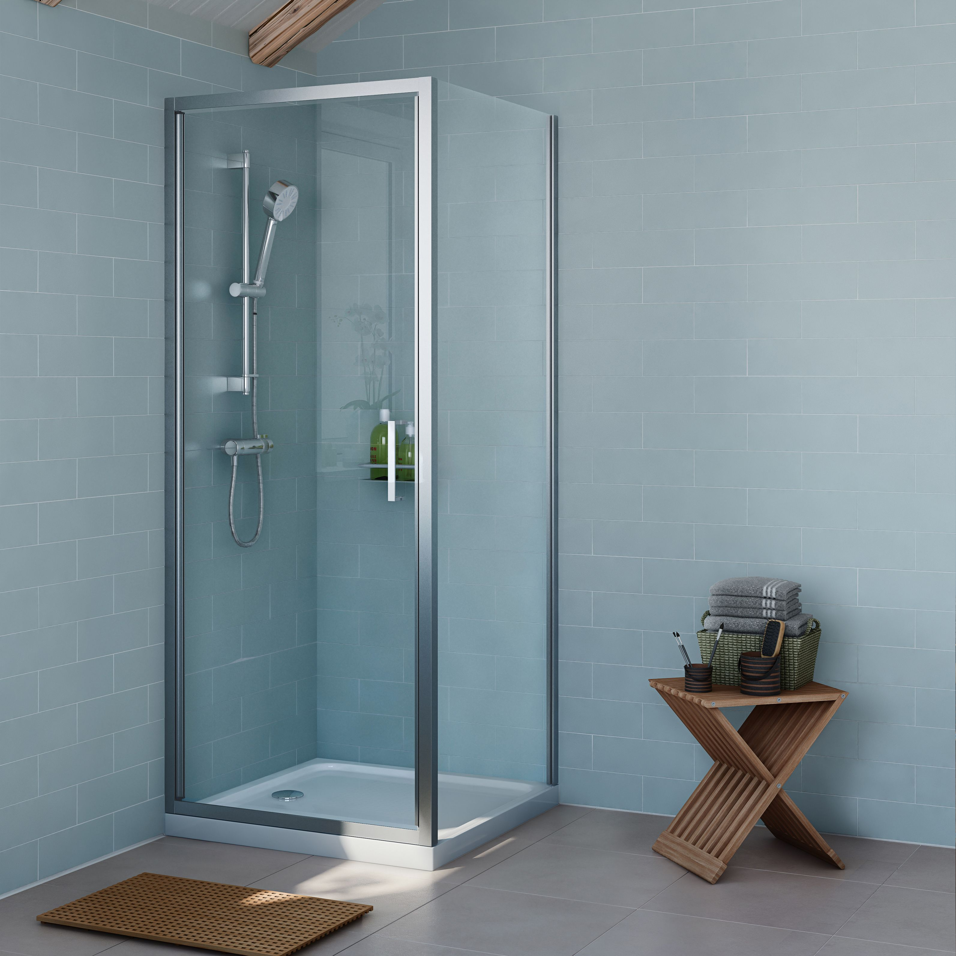 Cooke & Lewis Exuberance Square Shower Enclosure, Tray & Waste Pack ...