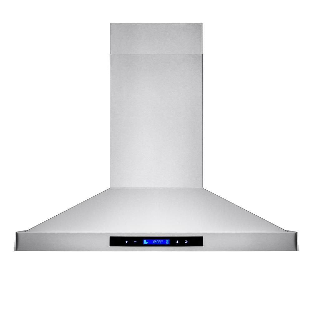 Akdy 36 In Convertible Island Mount Kitchen Range Hood In Stainless Steel With Led Lights Touch Control And Carbon Filters Rh0465 Island Range Hood Stainless Steel Island Range Hoods
