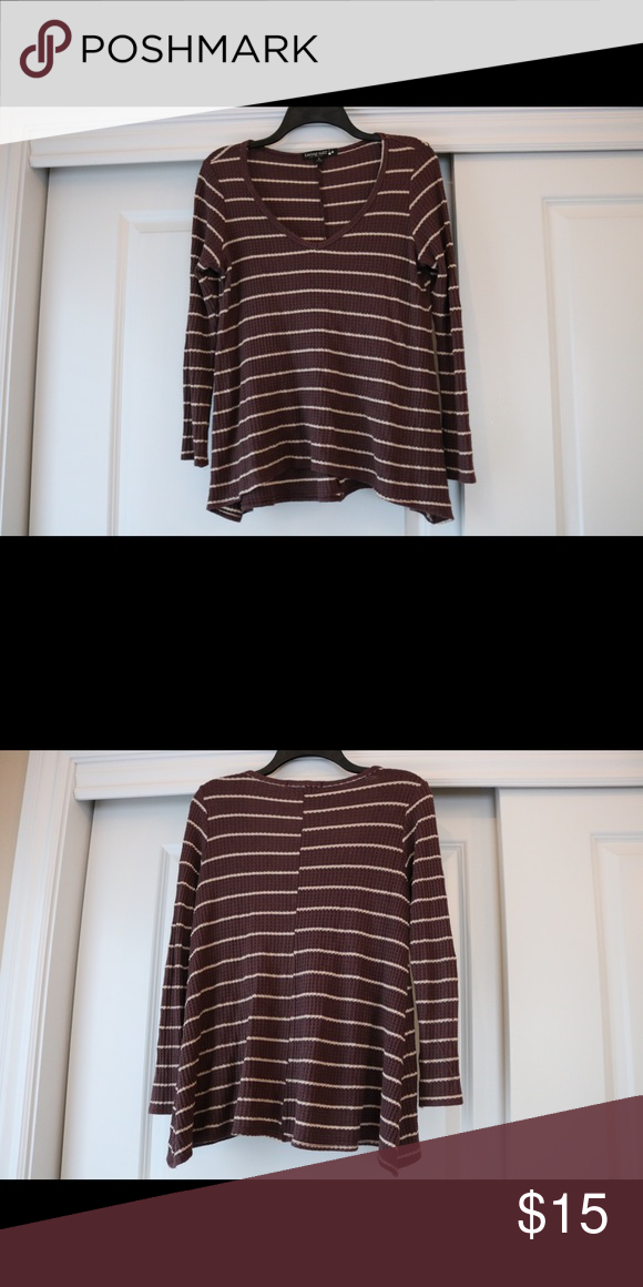 Dark purple and cream striped top from Nordstrom This is a v neck long sleeve top. Waffle knit. Very cute on and easy to pair Nordstrom Tops Tees - Long Sleeve