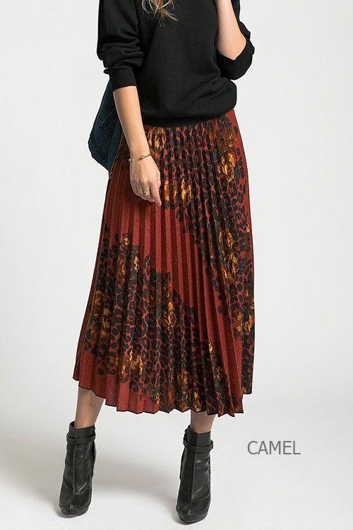 5680226594 Flower Leopard Pleated Skirt