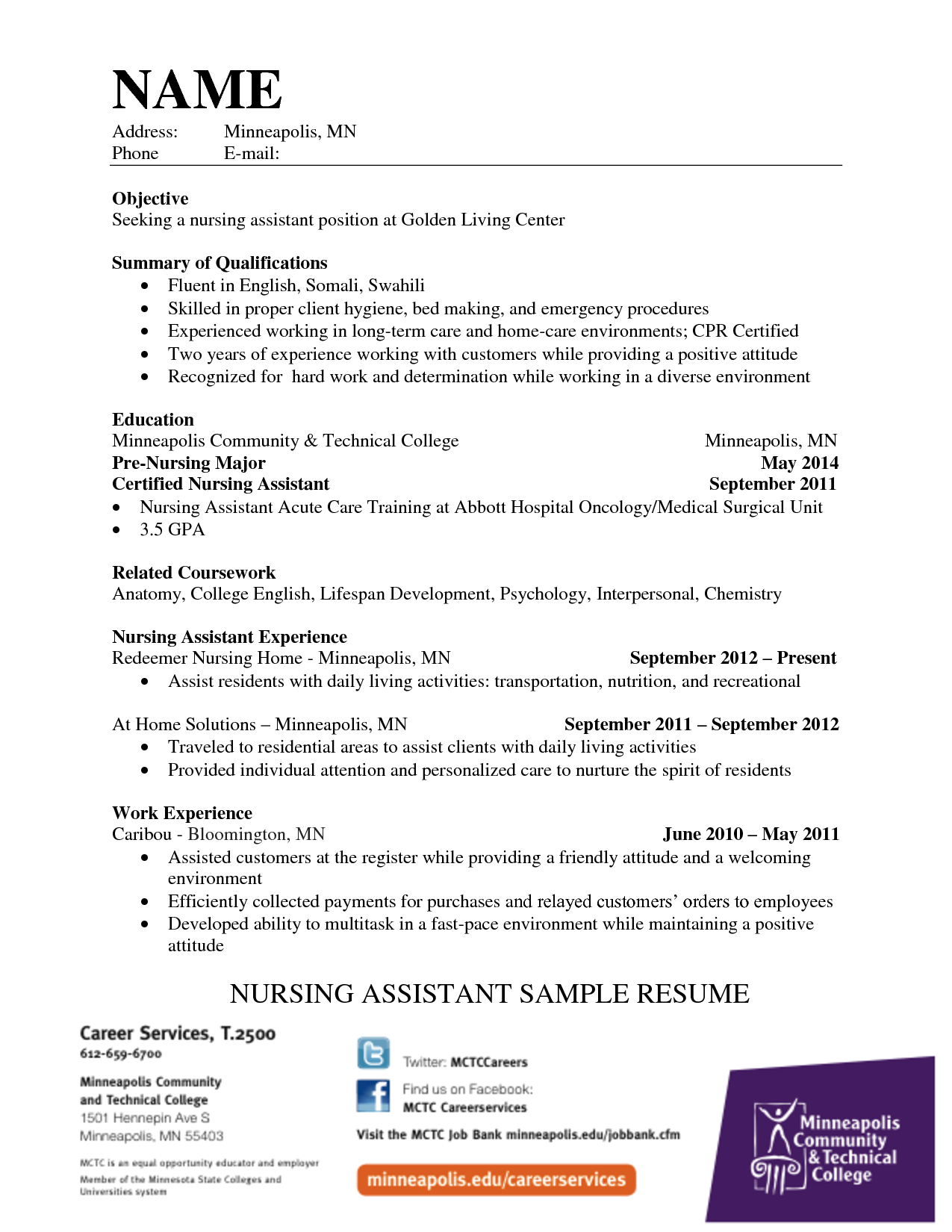 Example Application Letter For Nursing Assistant Cna Job Resume Cover  Happytom Waitress Skills Waitressing  Nurse Aide Resume Examples