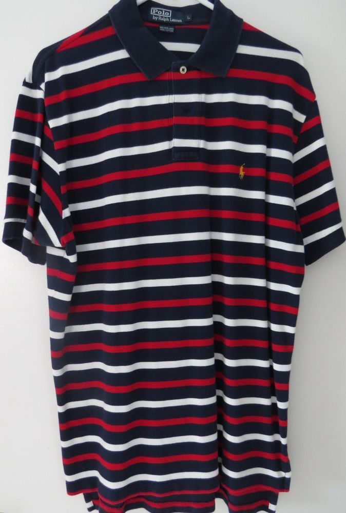 POLO Ralph Lauren USA Striped Shirt Mens Large (L) Red-White-Blue