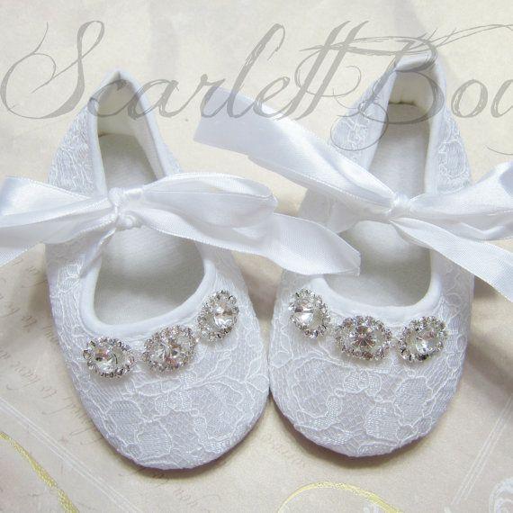 Blanco encaje zapatos de bebé niña bautizo zapatos de boda