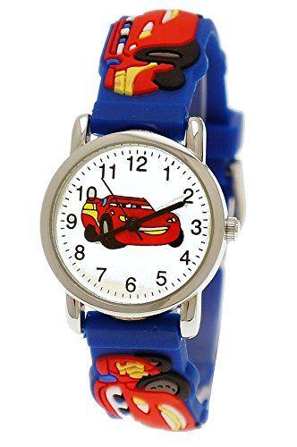 Pure Time Autos Cars Kinderuhr Jungen Mädchen Auto Kinder Silikon Armband Blau Rot Sportuhr Lernuhr Uhr 3D