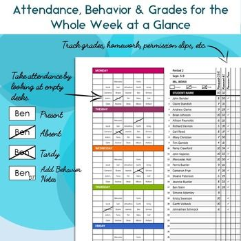 Classroom Seating Chart Attendance, Grade Sheet \ Behavior - attendance tracking template