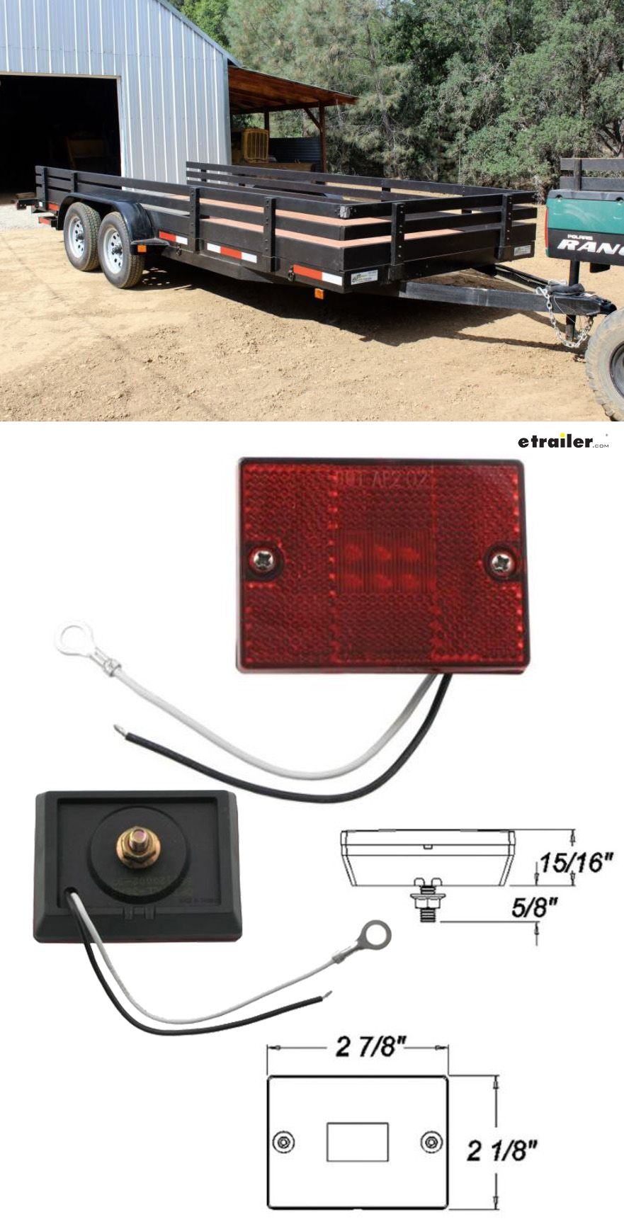 Optronics Led Trailer Clearance Or Side Marker Light W Reflector 6 Diodes Square Red Lens Opt Utility Trailer Led Trailer Lights Landscape Trailers