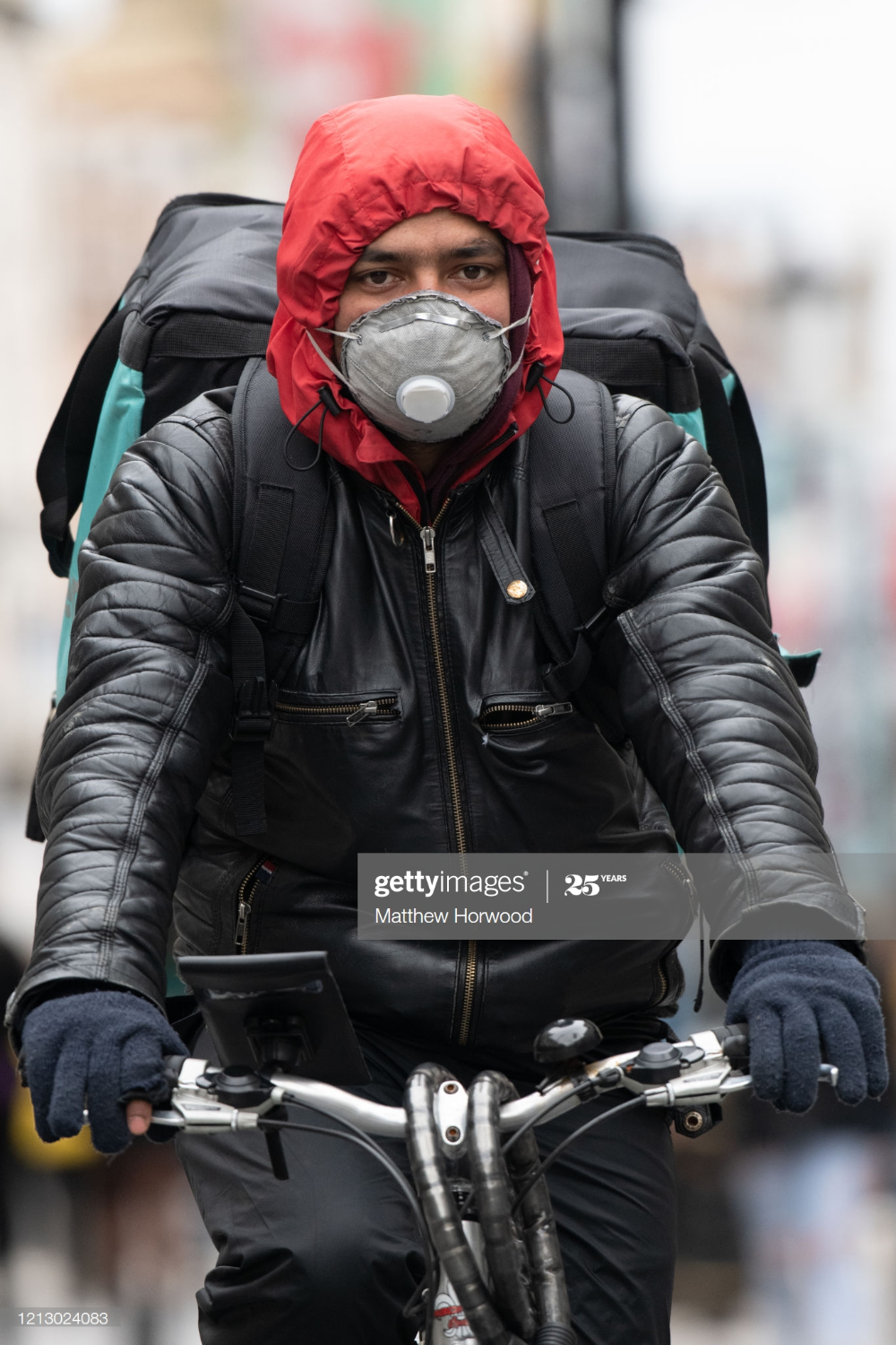 A Deliveroo worker on March 14, 2020 in Cardiff, United