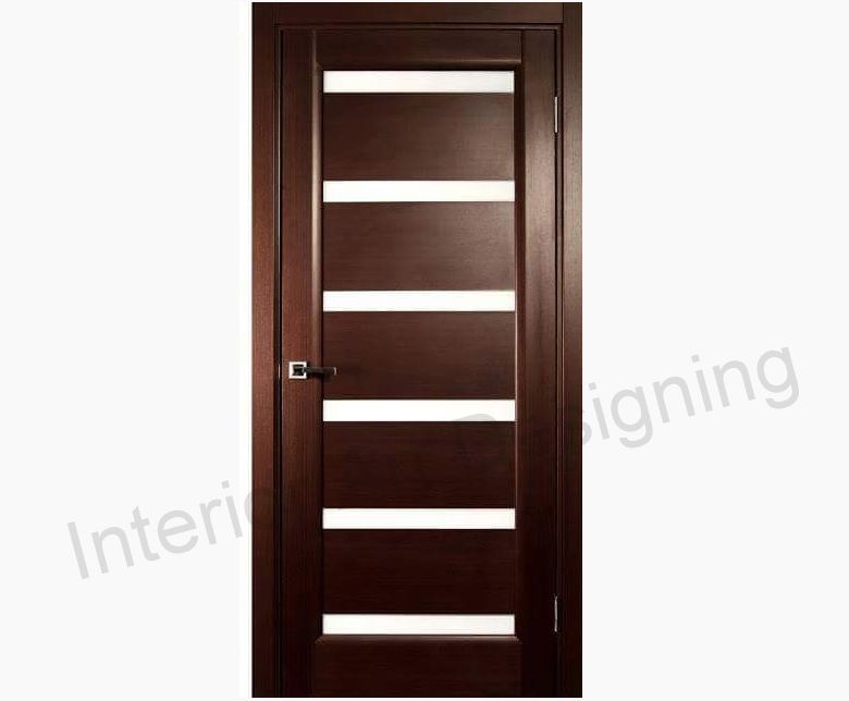 Ville Doors Single Door Wenge Veneer Contemporary With Glass Panes