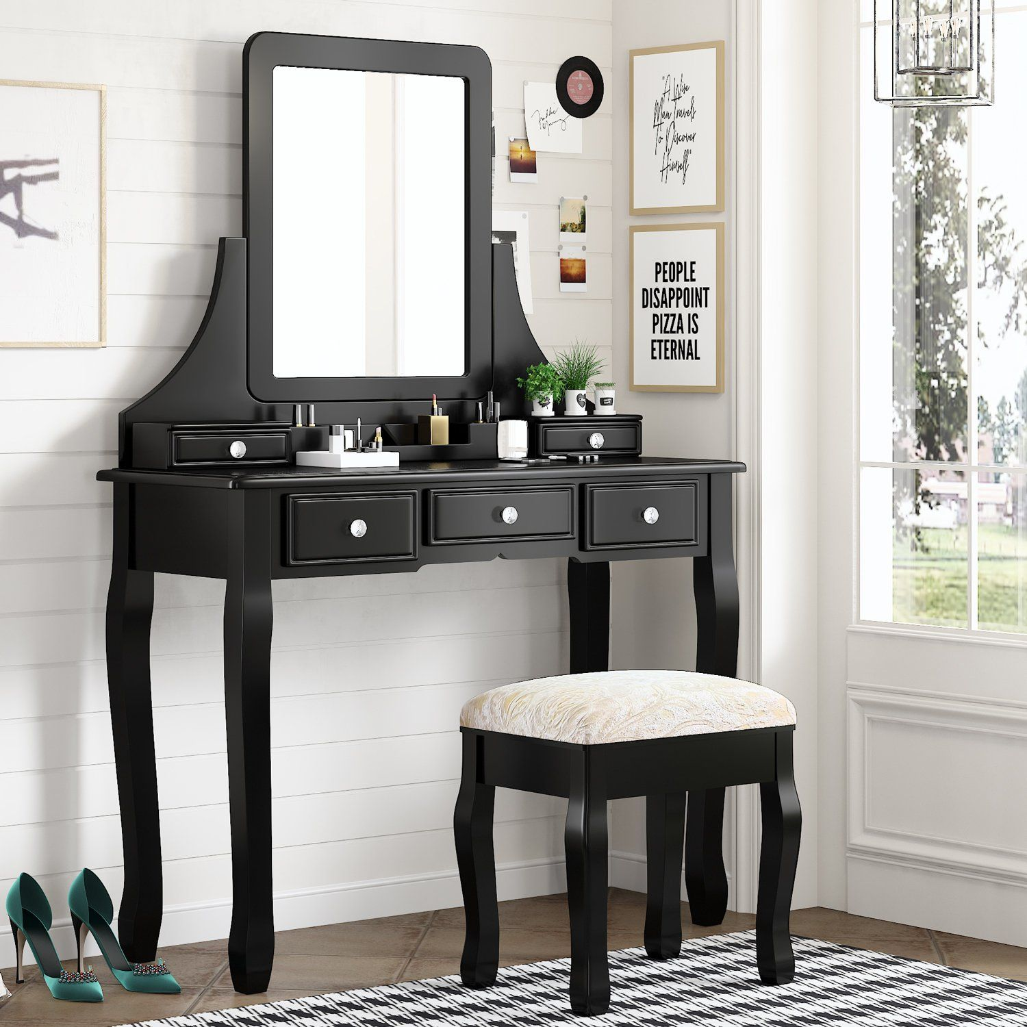 Makeup Vanity Table and Cushioned Stool Set, Bedroom Vanity Desk with Mirror for Women Girls - Black