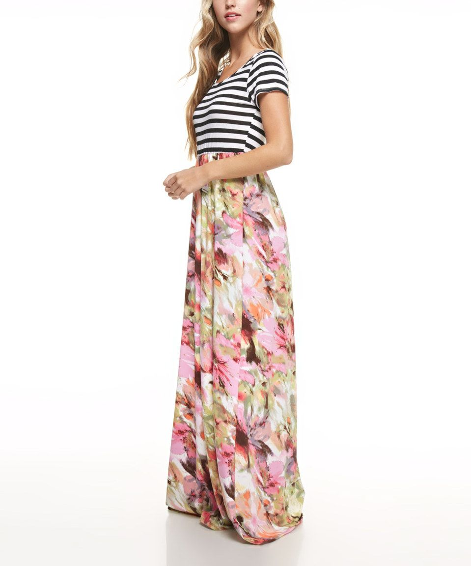 Look what I found on #zulily! Pink & Yellow Floral & Stripe Maxi ...
