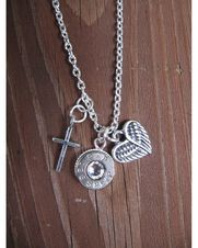 Women's 38 Bullet Necklace with Heart Angel Wing and Tiny Cross Charm,