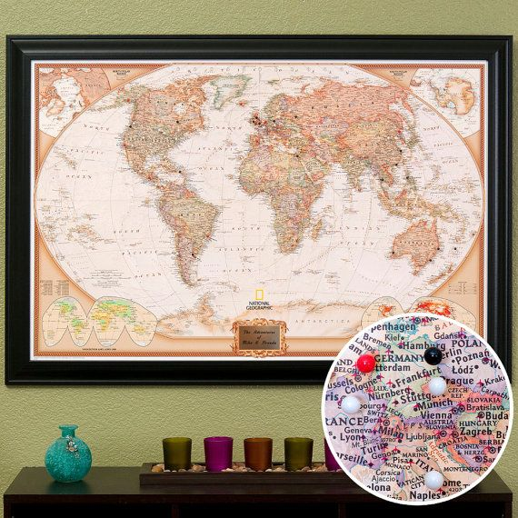 Personalized Executive World Travel Map With Pins And Frame Push - Personalized world map with pins