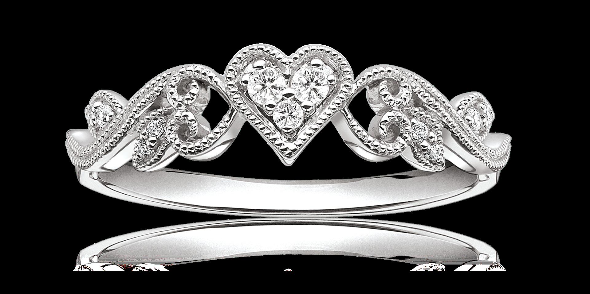 Diamond Heart Scroll Design Promise Ring In 10k White Gold Moonstone Engagement Ring Rose Gold Rose Engagement Ring Rose Gold Promise Ring