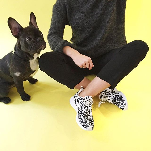 Black and white essentials : sneakers and a #dog ! #SneakersForAll  #WoofWoofWednesday :