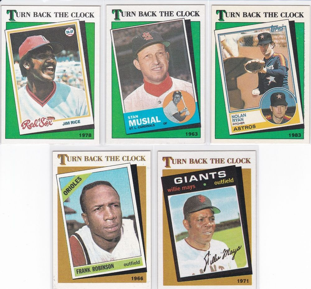 1986 1988 Topps Turn Back The Clock 5 Card Lot Nolan Ryan Willie