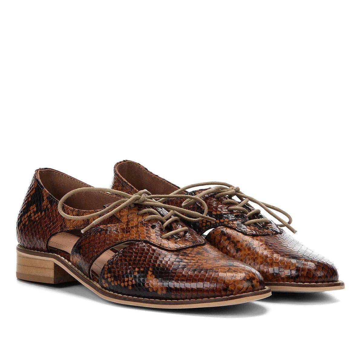 aedf4cca00 Oxford Couro Shoestock Wild Snake Feminino - Caramelo - Compre Agora ...