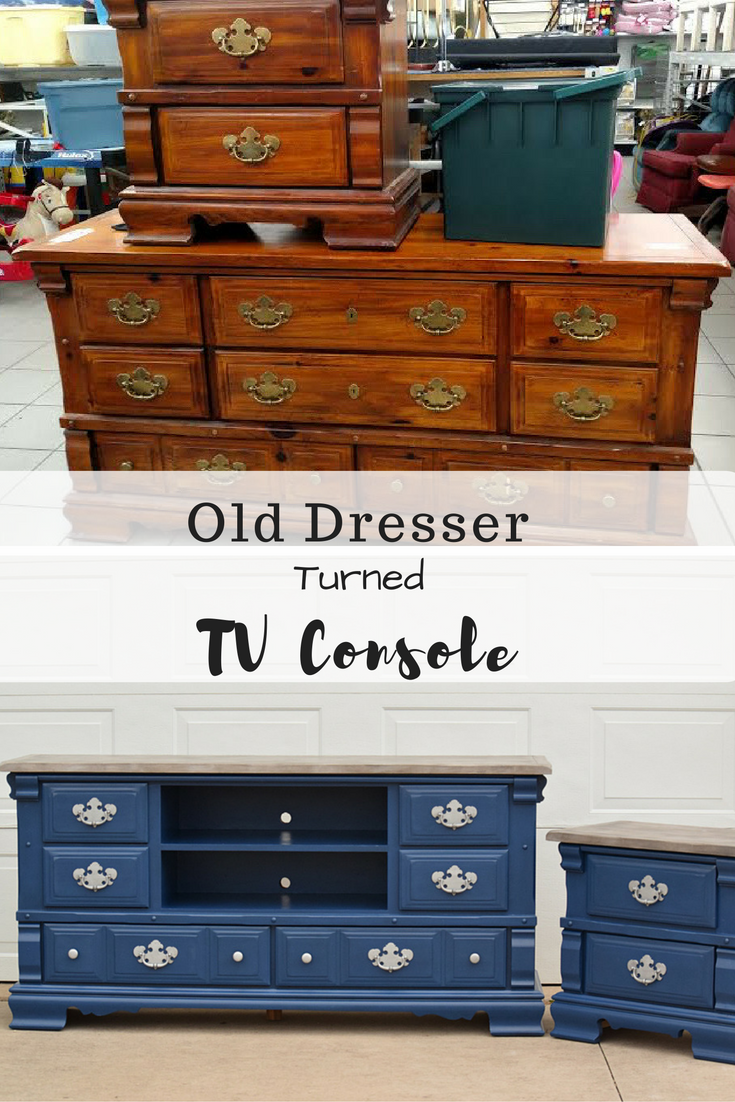 Old Dresser turned TV Console   Timeless Creations, LLC