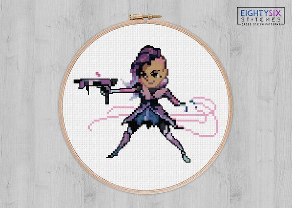 SOMBRA from Overwatch // cross stitch pattern // geekery and