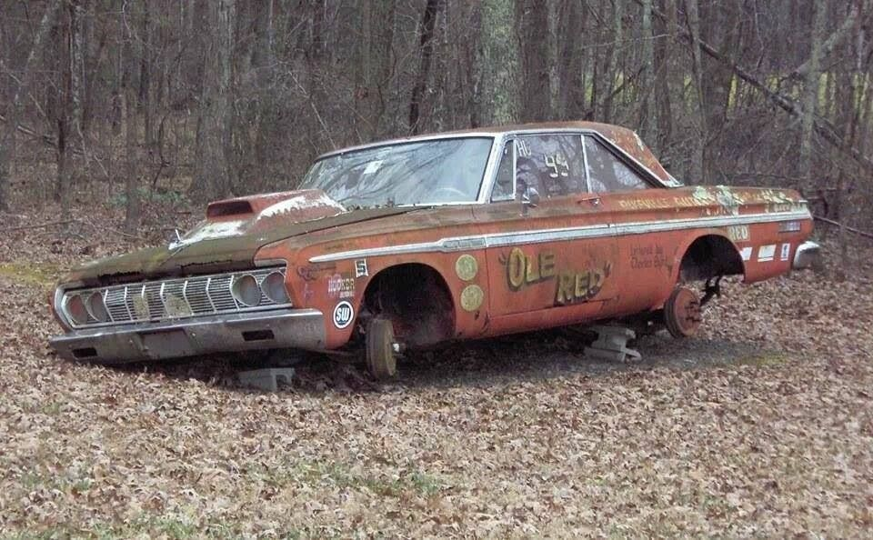 Old Plymouth Drag Car Original Drum Brakes Standing On The