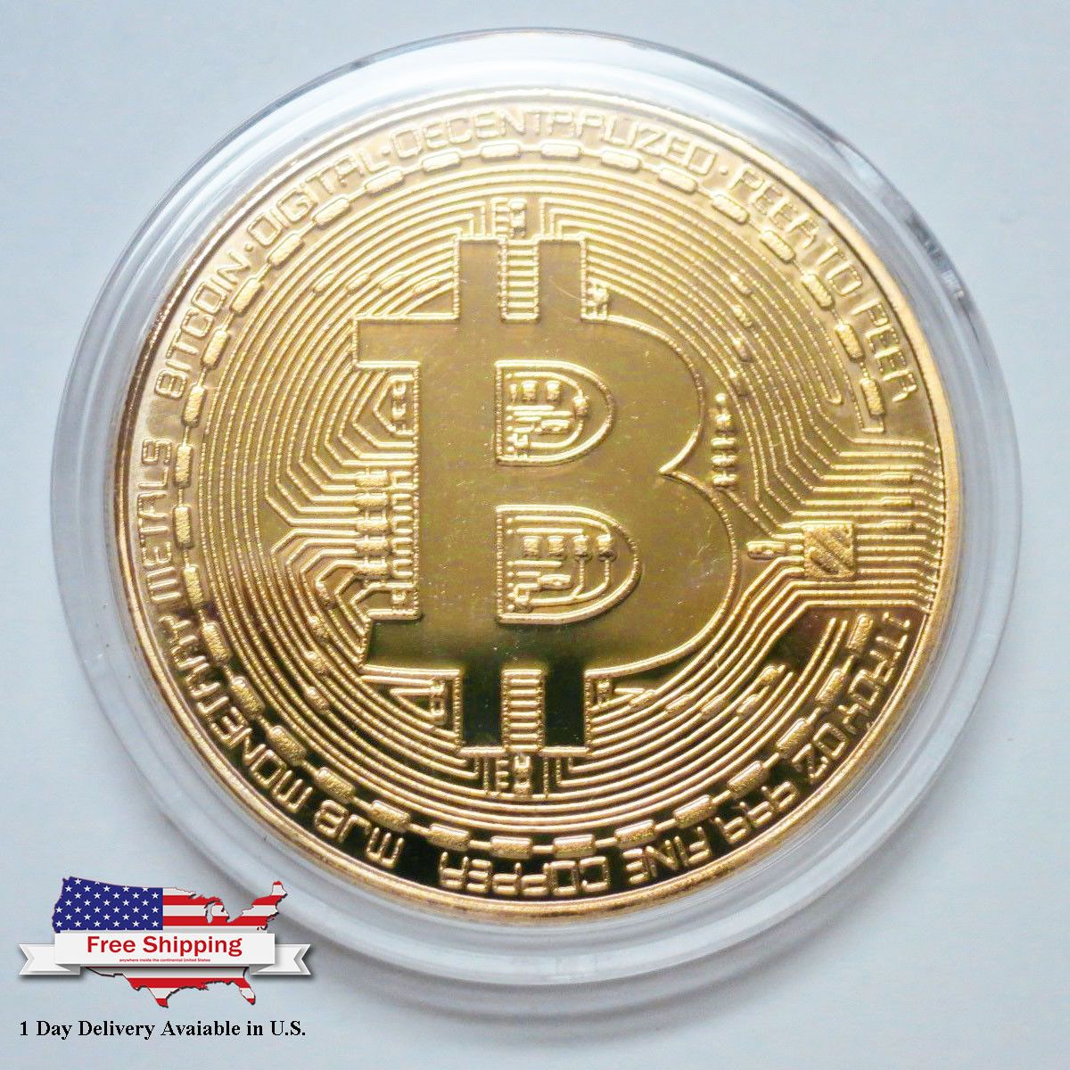 Gold Plated Physical Bitcoin in protective acrylic case Free SHIPPING BITCOIN!