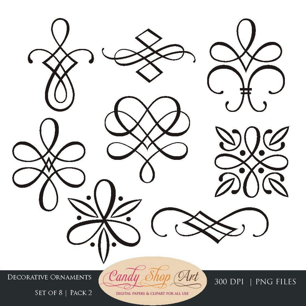 Wedding ornaments - Instant Download Calligraphy Ornaments Graphic Ornaments Wedding Clip Art Decorative Ornaments Wedding Ornaments