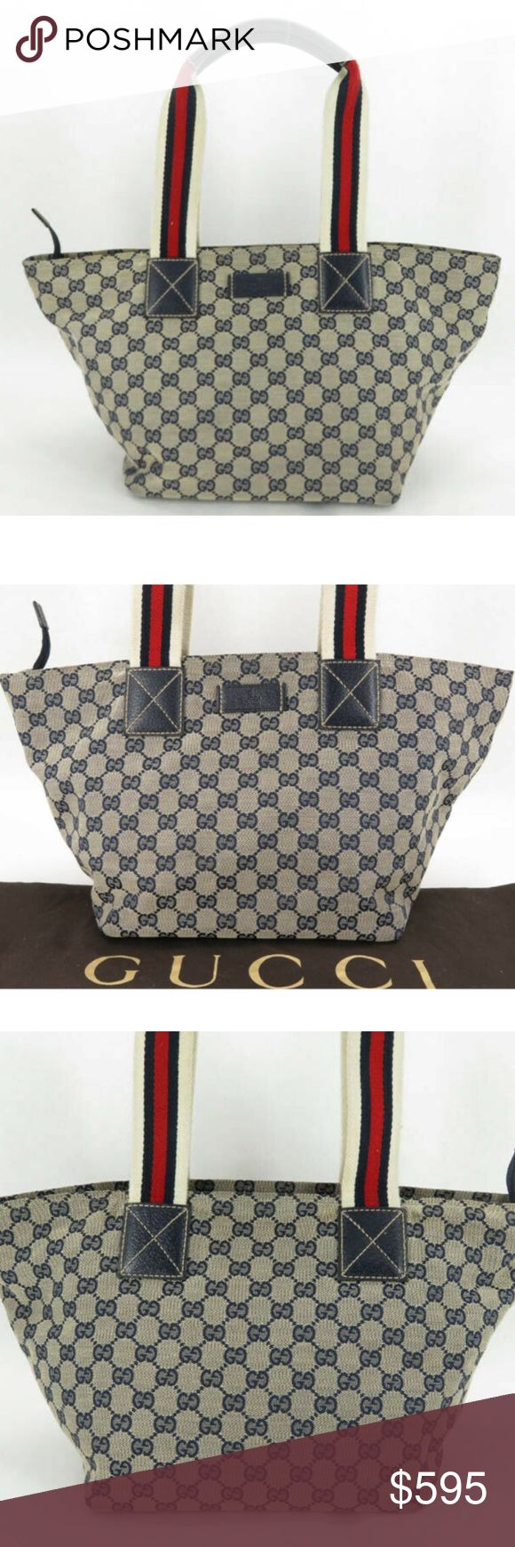 131230 100% auth gucci gg sherry navy canvas leather tote date code