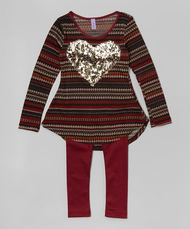 Another great find on #zulily! Burgundy Glitter Heart Tunic & Leggings - Toddler & Girls #zulilyfinds