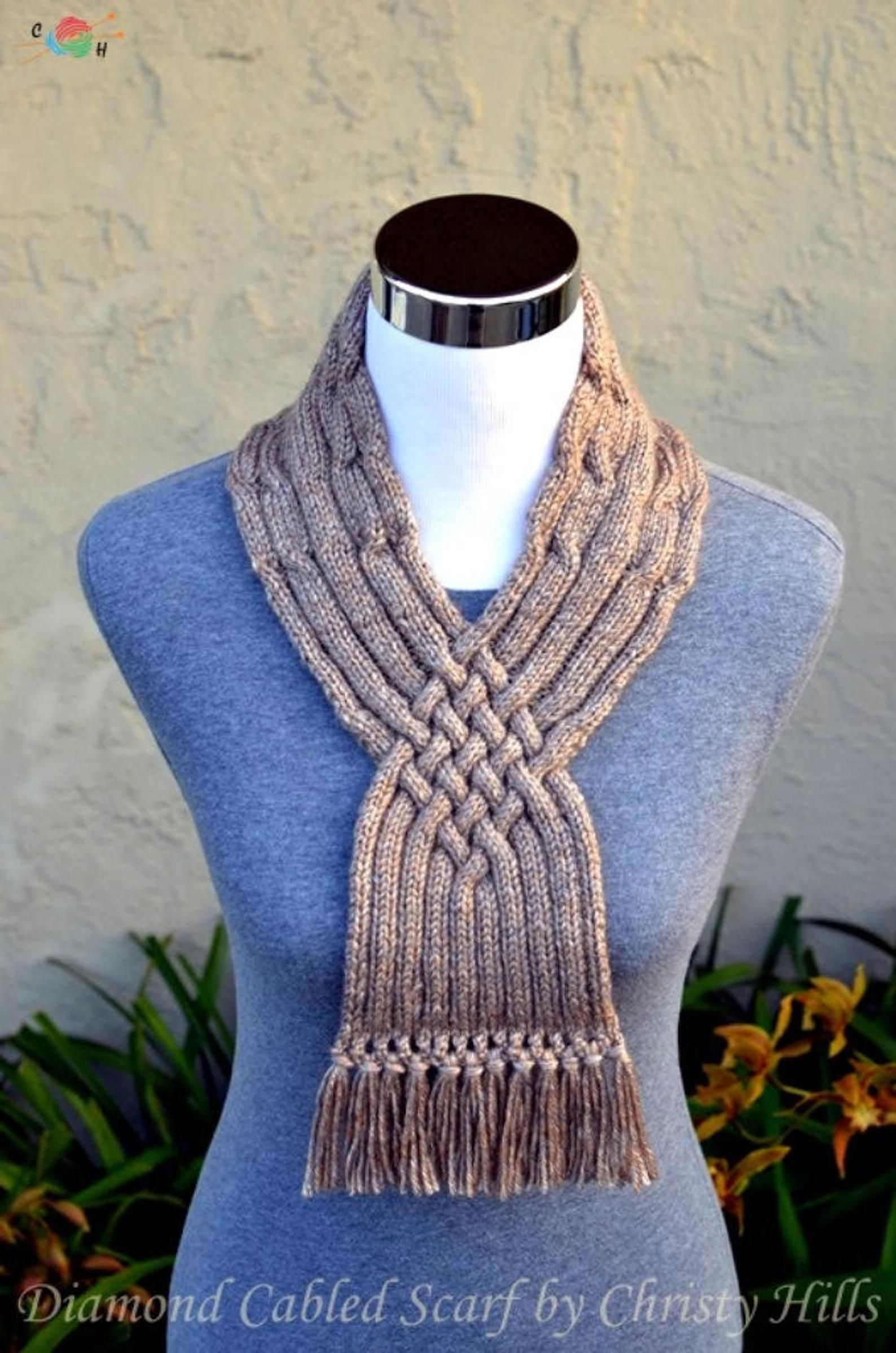 Knitting Pattern Only Diamond Cabled Scarf | Etsy ...