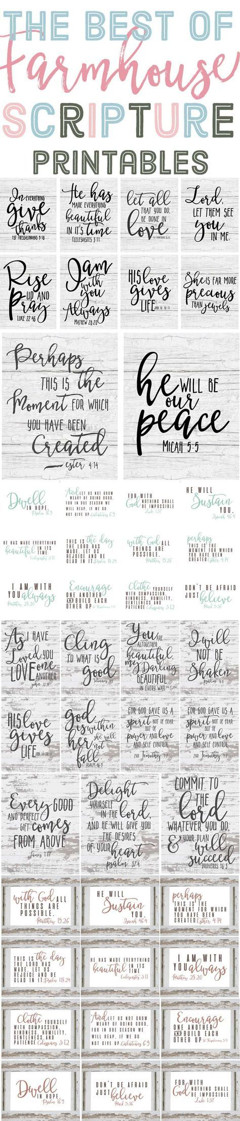 The Best of Free Farmhouse Style Scripture Printables is part of Scripture printables - The best of Farmhouse style scripture printables! Last year I shared many free farmhouse style printables with you guys, like the ones in
