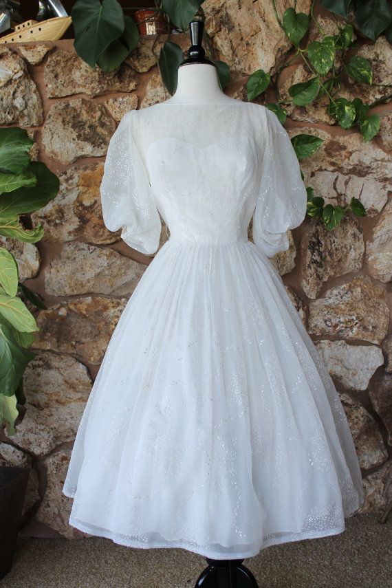 1950s Tea Length Wedding Dress // flocked cupcake by ladyhogg ...
