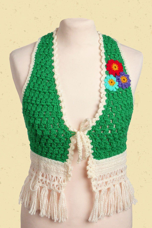 Grasgroen Gilet Met Franjes Crochet Pinterest Franjes Haken