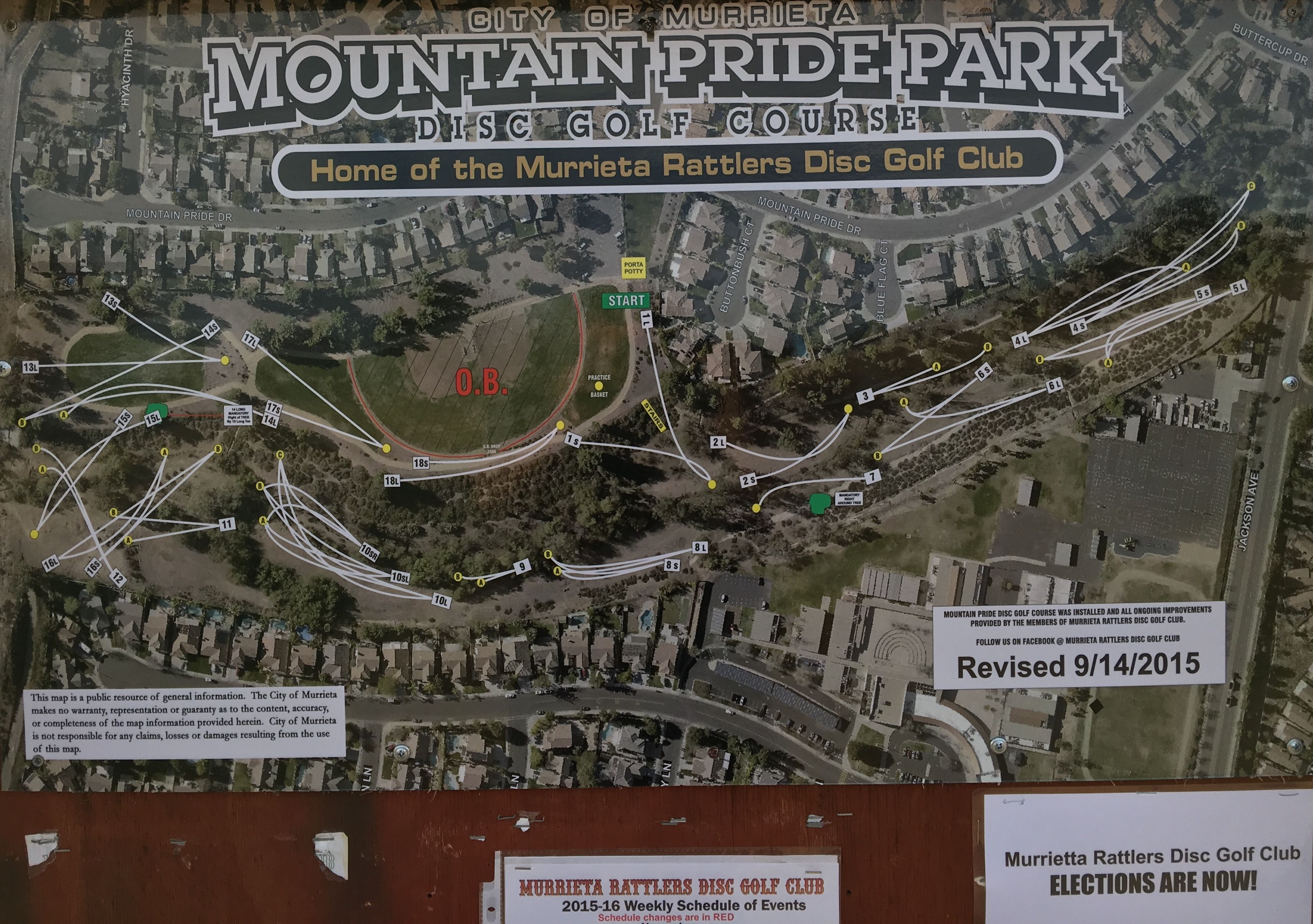 Mountain Pride Disc Golf Course Map Revised In Murrieta - Us golf course map