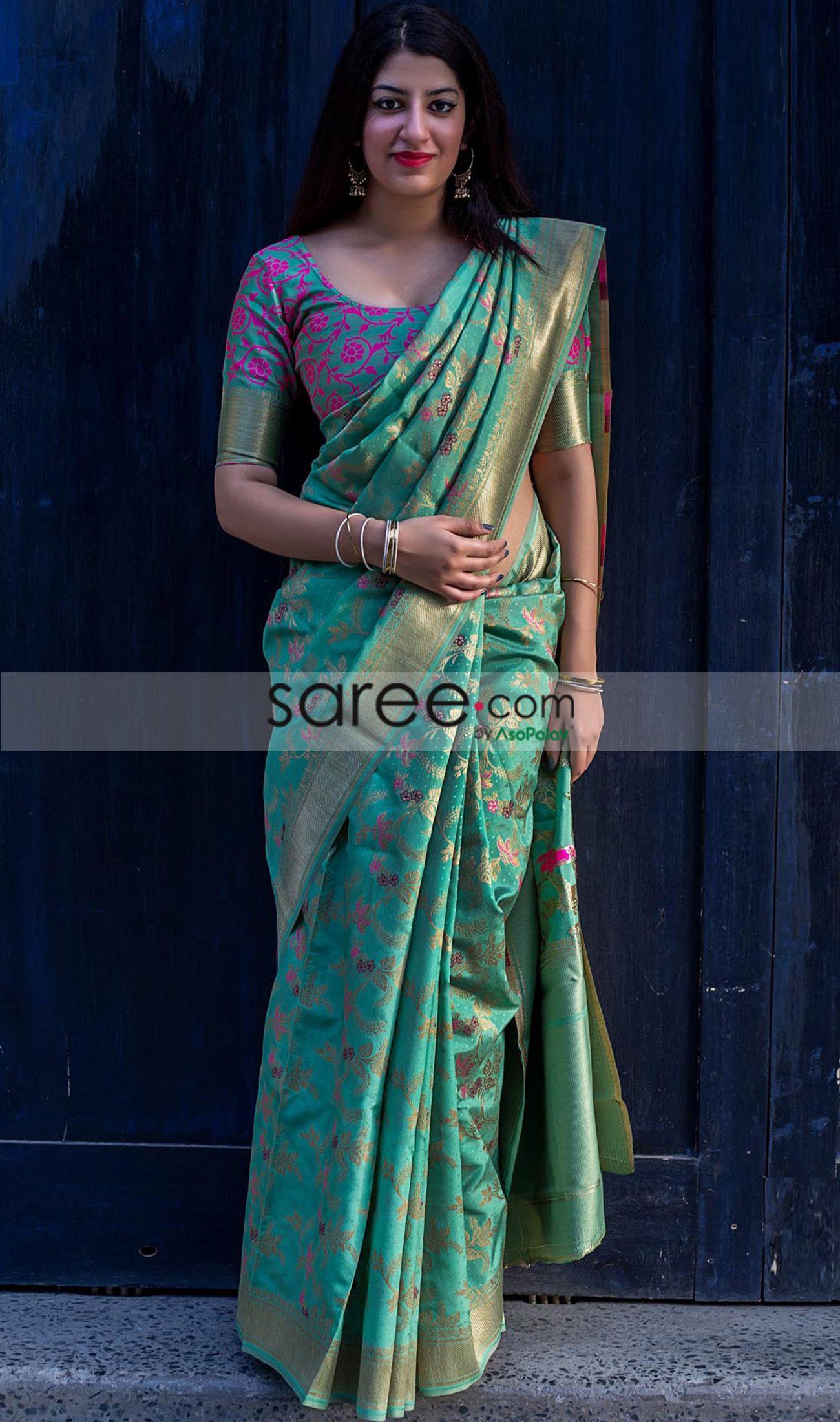 Designer Cotton Silk Saree Traditional Ethnic Kanjipuram Indian Sari Party wear