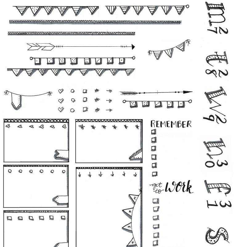 Hand Drawn Printable Stickers For Happy Planner Bullet Journal Doodle Style Bullet Journal Stickers Journal Stickers Bullet Journal Free Printables