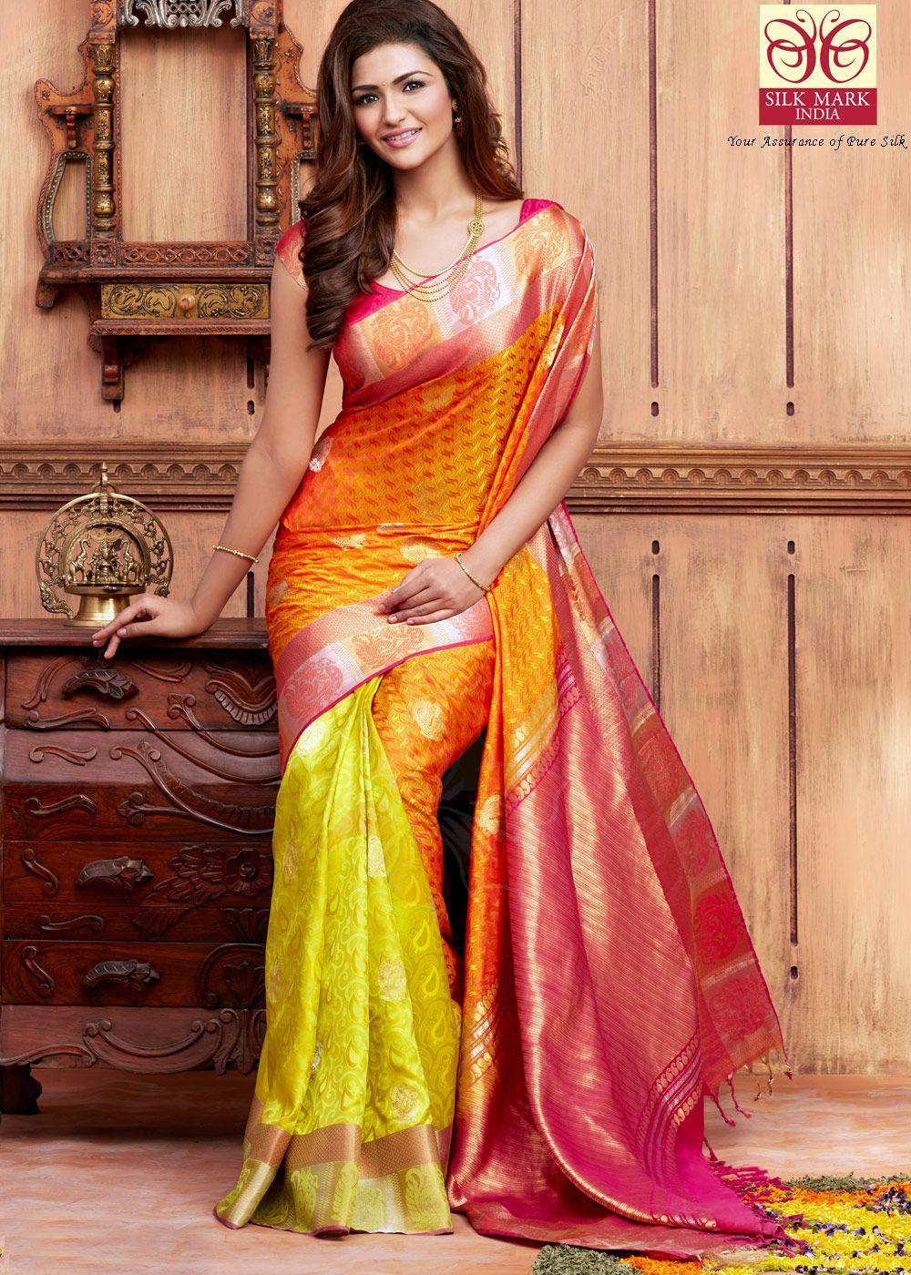 b3751954e254d1 Panash Saree - Buy Yellow Pure Kanchipuram Handloom Silk Saree with Blouse  online