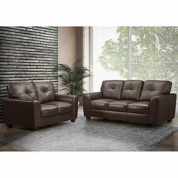 Joel Brown Top Grain Leather Sofa And Loveseat Leather Sofa And Loveseat Top Grain Leather Sofa Costco Furniture
