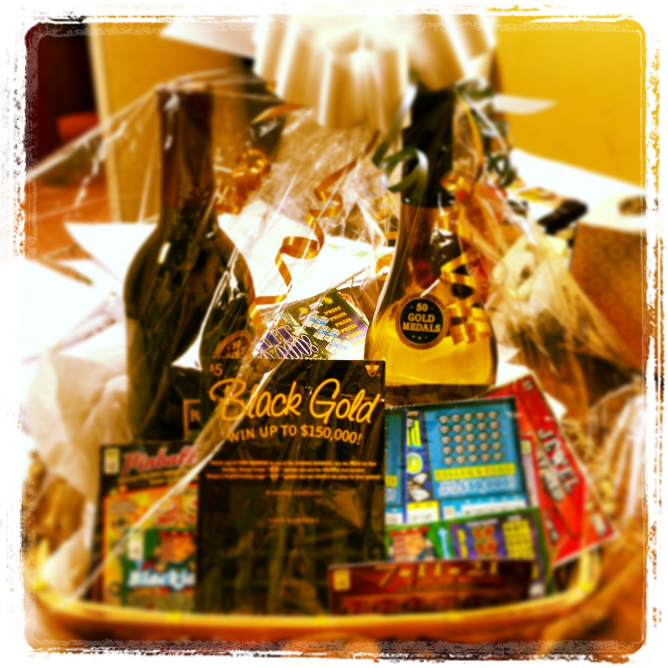 "The ""Lottery Ticket & Wine"" gift basket we donated to Downtown Blacksburg's Kentucky Derby Event!"