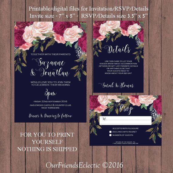 Boho wedding invitation Printable wedding invitation set Navy wedding invitation set Pink floral wedding set Digital wedding invitation