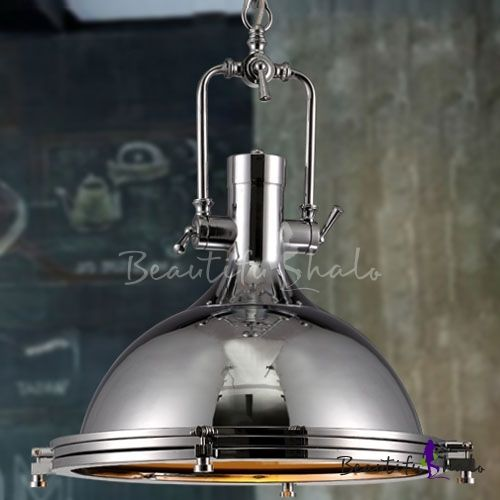 Polished Chrome Dome Pendant Light With Frosted Glass Diffuser For